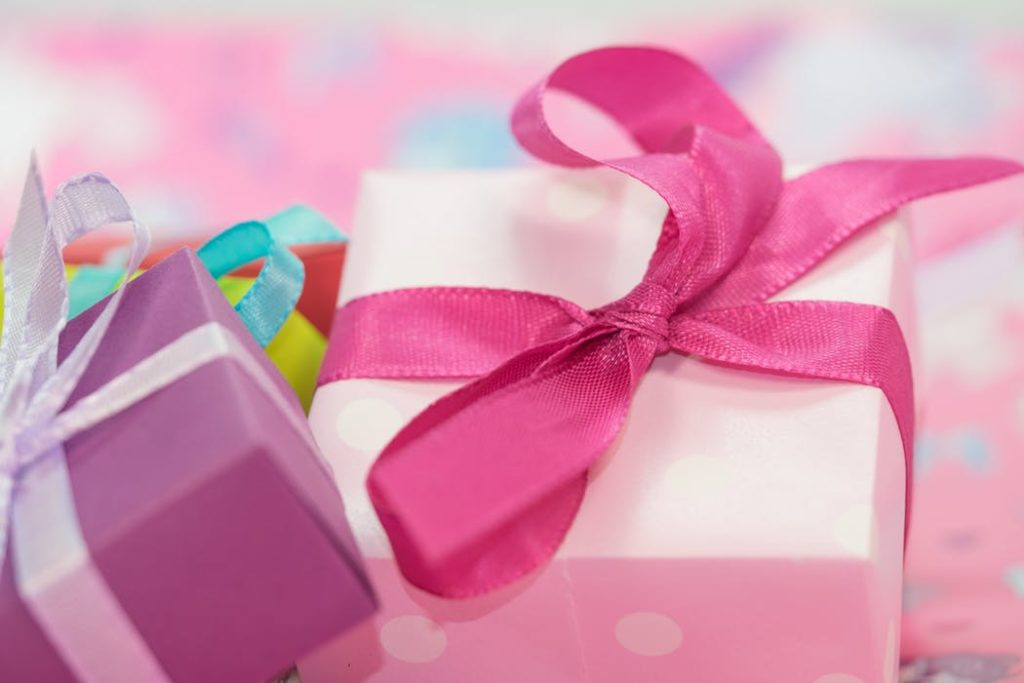 pink present with bow