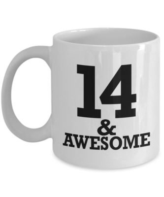 This is an image of a white mug for 14 year old men.
