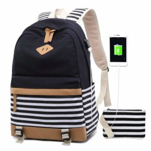this is an image of a canvas backpack with usb