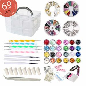 nail art box with gems and tools