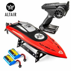 This is an image of a red rc boat by Altair.