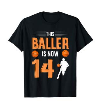 This is an image of a black basketball t-shirt for 14 year old men.