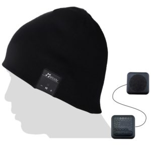 This is an image of a black music beanie with bluetooth.