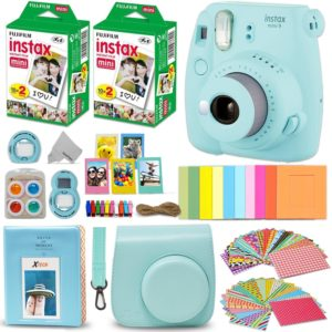 This is an image of an ice blue mini 9 instant camera.