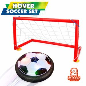 Soccer Ball Set 2 Goals Gift Football Disk Toy LED Light