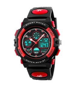 Kids sport watch digital analog red and black