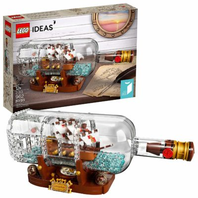 This is an image of a ship in a bottle building set for 14 year old men.