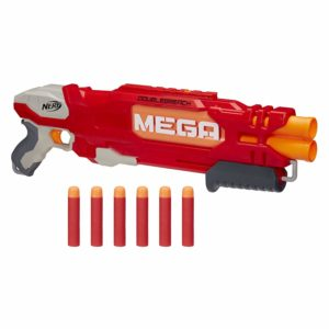 This is an image of a red Mega DoubleBreach Blaster with 6 darts.