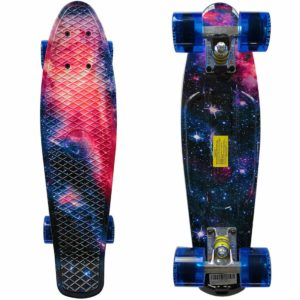 This is an image of 22 inch skateboard with galaxy print.