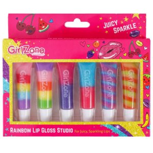 Rainbow fruity lip Gloss makeup gift set for girls