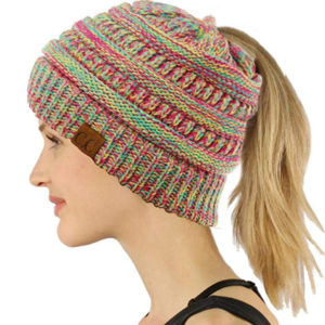 this is an image of a beanie ponytail hat