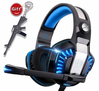 This is an image of a blue gaming headset with gift.