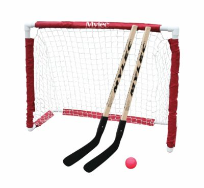 White hockey set with two sticks