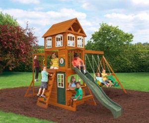 wooden outdoor play set
