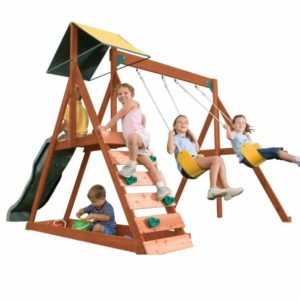 wooden swing set with climbing wall