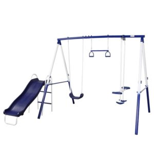 blue and white swing set with slide