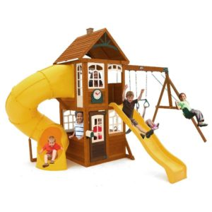 wooden swing set with tower and tube slide