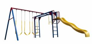swings with slide and monkey bars