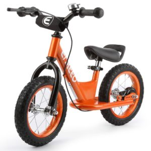 orange balance bike with brake