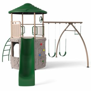 climbing tower with slide and swings