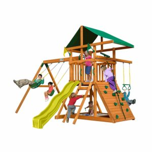 wooden playground set with canopy