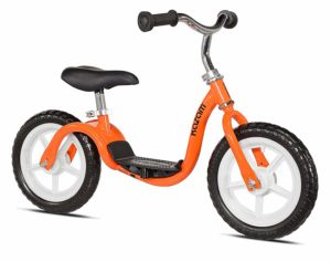 orange balance bike with foot rest