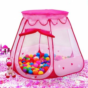 this is an image of a pink princess ball pit tent