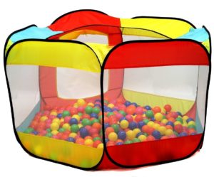 this is an image of a ball pit tent with transparent sides