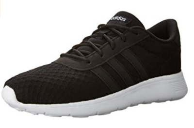 This is an image of a black and white running shoes for women.