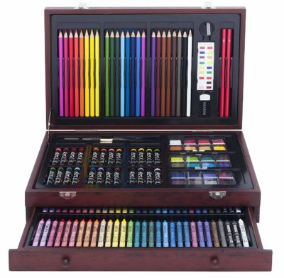 This is an image of an art set with a deluxe wood case.