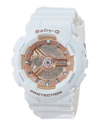 This is an image of a white and pink analog digital watch for teenage girls.
