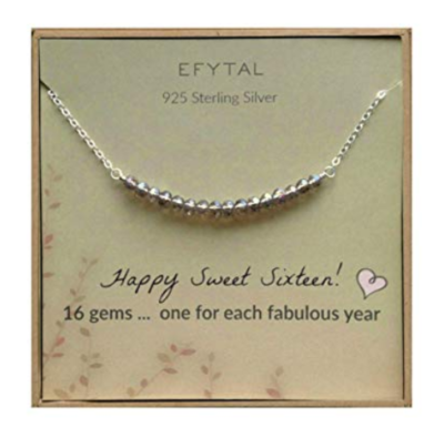 This is an image of a sterling silver necklace for 16 year old girls.