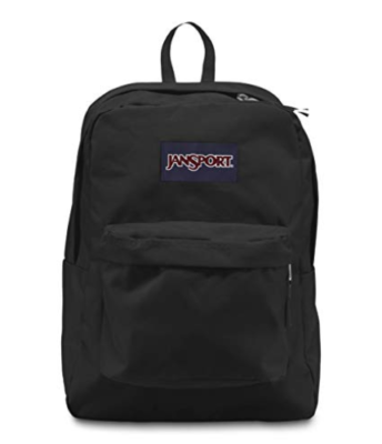 This is an image of a black backpack for teens.