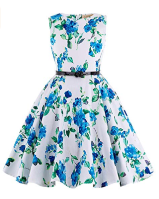 This is an image of a floral party dress for girls.