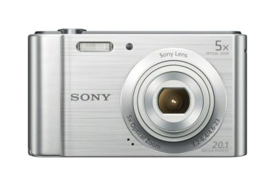 This is an image of a silver digital camera.