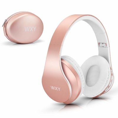 This is an image of a rose gold headphone with hard case.