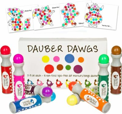 This is an image of an 8 piece washable dot marker with 100 sheets.