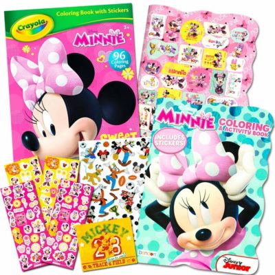 This is an image of a Minnie Mouse deluxe coloring book by Disney.