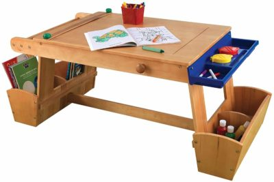 This is an image of a wooden art desk with storage by KidKraft.