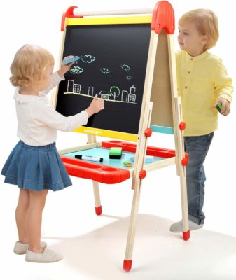 This is an image of two kids using the wooden art easel by TOP BRIGHT.