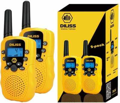This is an image of a 2 pack yellow walkie talkies for kids by DIlissToys.