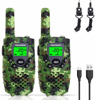 This is an image of a pack of 2 green camouflage walkie talkies for kids by FAYOGOO.