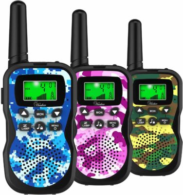 This is an image of a 3 pack multi color camouflage walkie talkies for kids by Huaker.