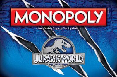 This is an image of a monopoly board game in Jurassic World edition designed by USAOPOLY.