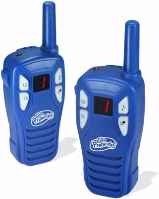 This is an image of a pack of 2 blue walkie talkie for kids by Little Pretender.