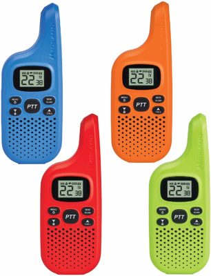 This is an image of a 4 pack multi color walkie talkie for kids by Midland.