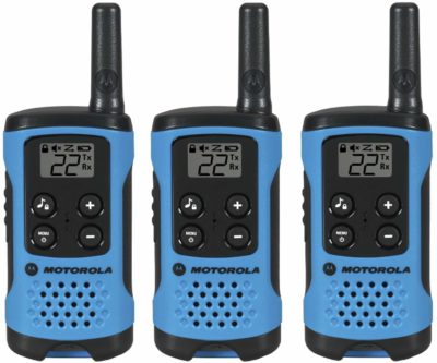 This is an image of a 3 pack blue motorola walkie talkies for kids.