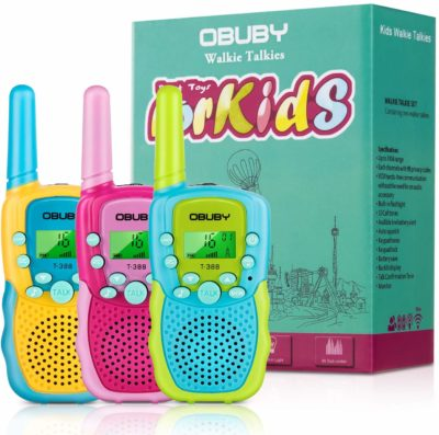 This is an image of a blue, pink and yellow walkie talkies for kids by Obuby.