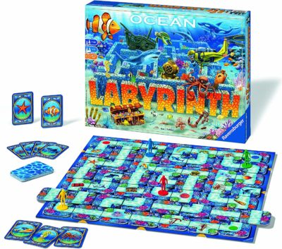 This is an image of a Labyrinth board game in Ocean edition by Ravensburger.