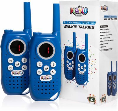 This is an image of a 2 pack blue walkie talkies for kids by Playco.